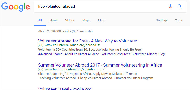 how to search volunteer abroad for free